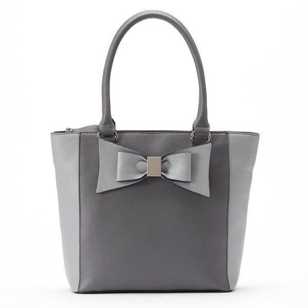 Apt 9 Brooklyn Bow Tote 22 Liked On Polyvore Featuring Bags Handbags Grey Totes Zip Zippered Bag Hand And