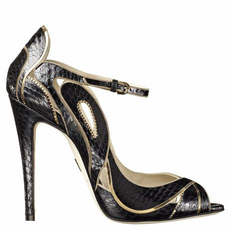 APRIL - Single sole open toe pump with cutouts and gold chain trim #BrianAtwood