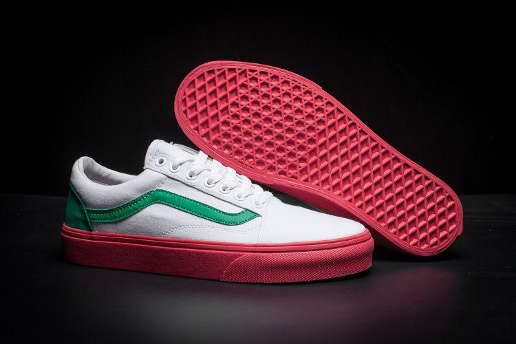 4546034bb27626 Vans Old Skool Korea Lover Skateboard Shoes White Green Red For Sale  Vans