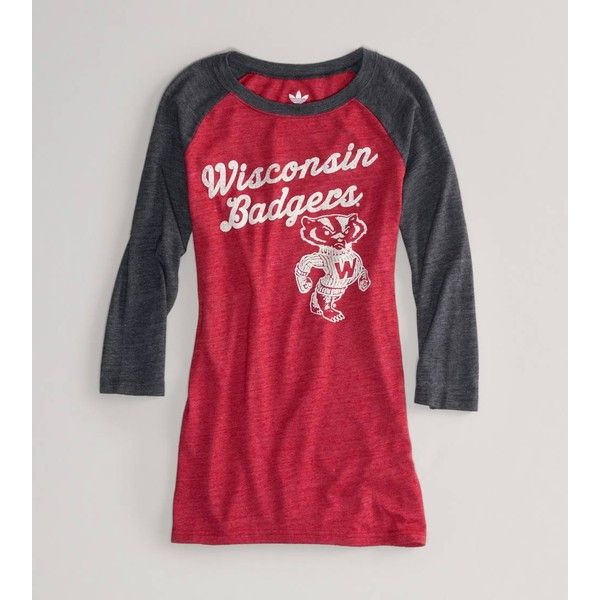 American Eagle Outfitters Wisconsin Vintage Raglan T ($30) ❤ liked on Polyvore