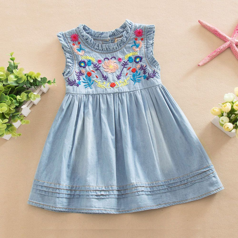 flower print dress kid princess cowgirl jeans denim baby