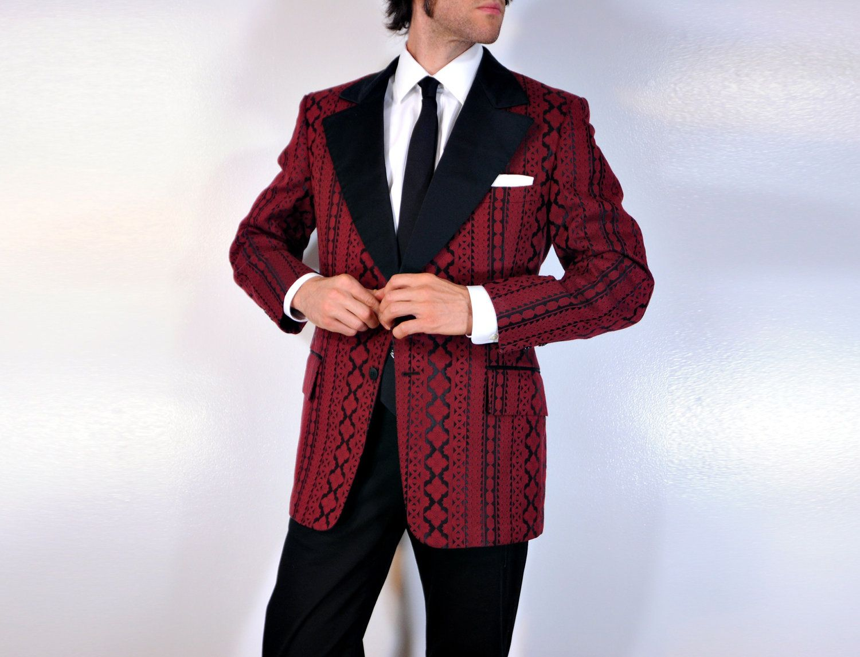 Image detail for -60s 70s Red Christmas Tuxedo Jacket Mens Blazer ...