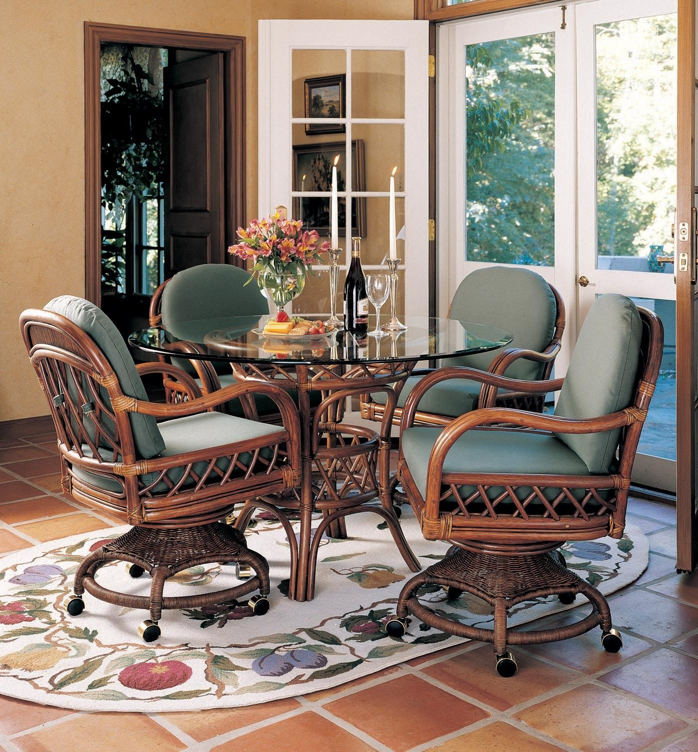 Antigua 48 round wickerrattan table dining room set by