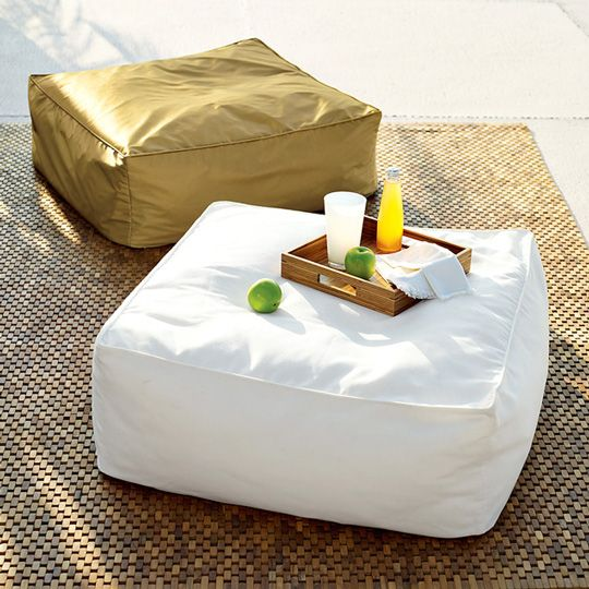 beanbag coffee table and ottoman from west elm | modern coffee