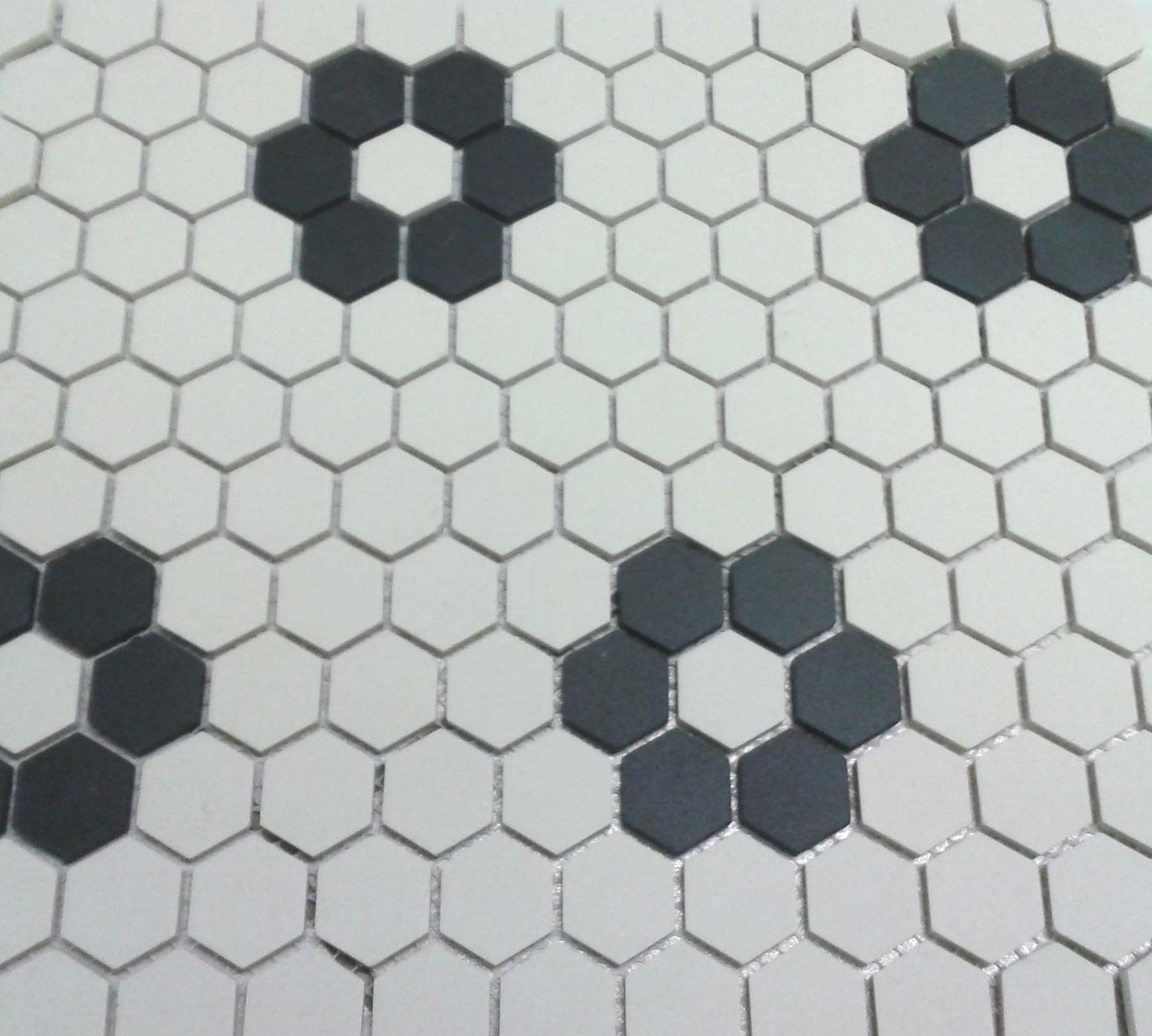 Unglazed Flower Hexagon Mosaic with Four Roses | Bathrooms ...