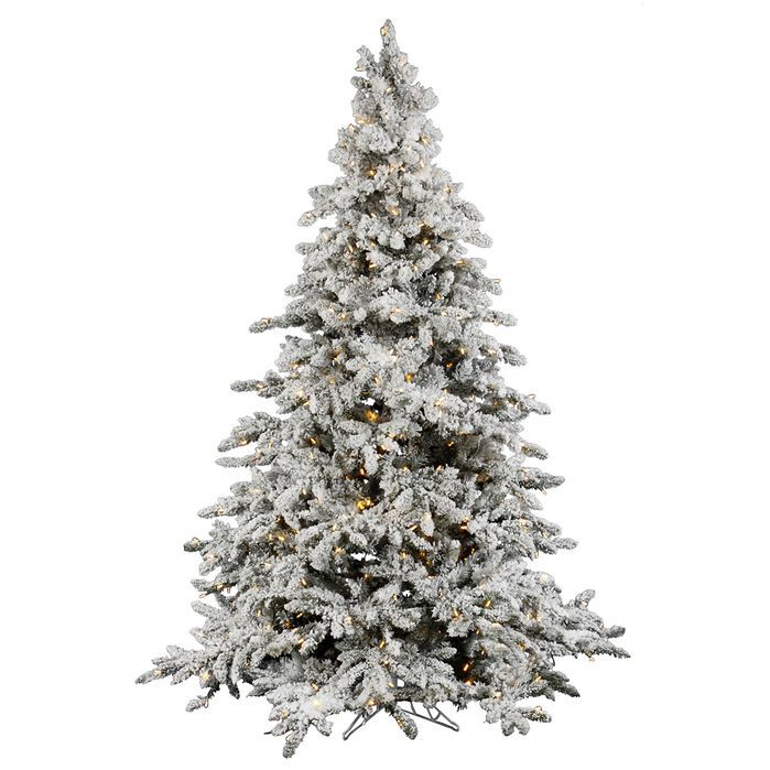 Flocked Utica 7.5u0027 Green Fir Artificial Christmas Tree With 700 LED Warm  White Lights With