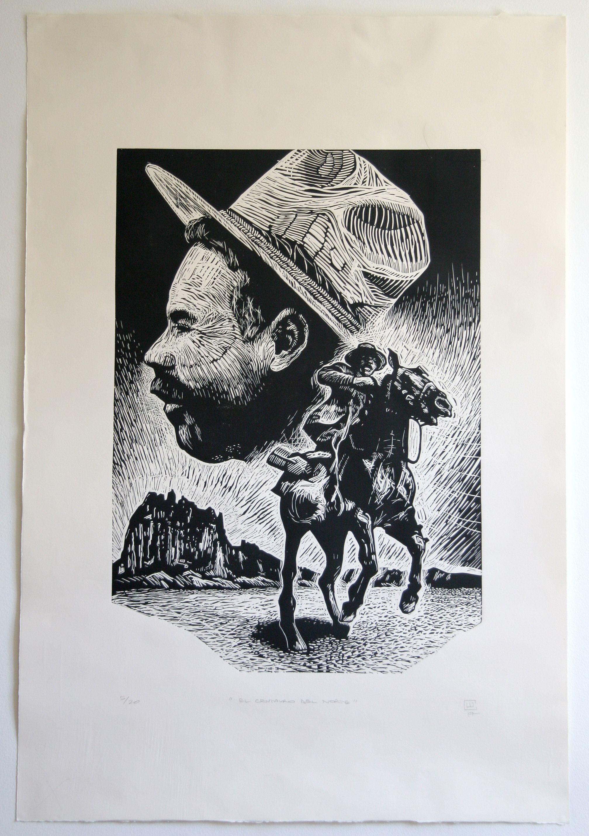 El Centauro Del Norte 2017 5 20 112x76cm A Linocut Portrait Of Pancho Villa Named The Centaur Of The North As H Pancho Villa El Centauro Del Norte Dibujos