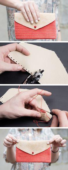 Tutoriales DIY: Cómo hacer un bolso clutch de ganchillo y cuero vía DaWanda.com ☂ᙓᖇᗴᔕᗩ ᖇᙓᔕ☂ᙓᘐᘎᓮ http://www.pinterest.com/teretegui