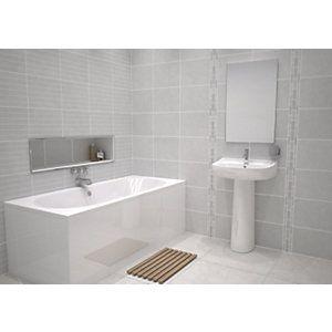 White Bathroom Tiles Uk wickes kensington grey stone effect ceramic wall tile 600x300mm