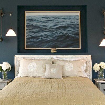 bedroom . dark blue walls . camel . gray white