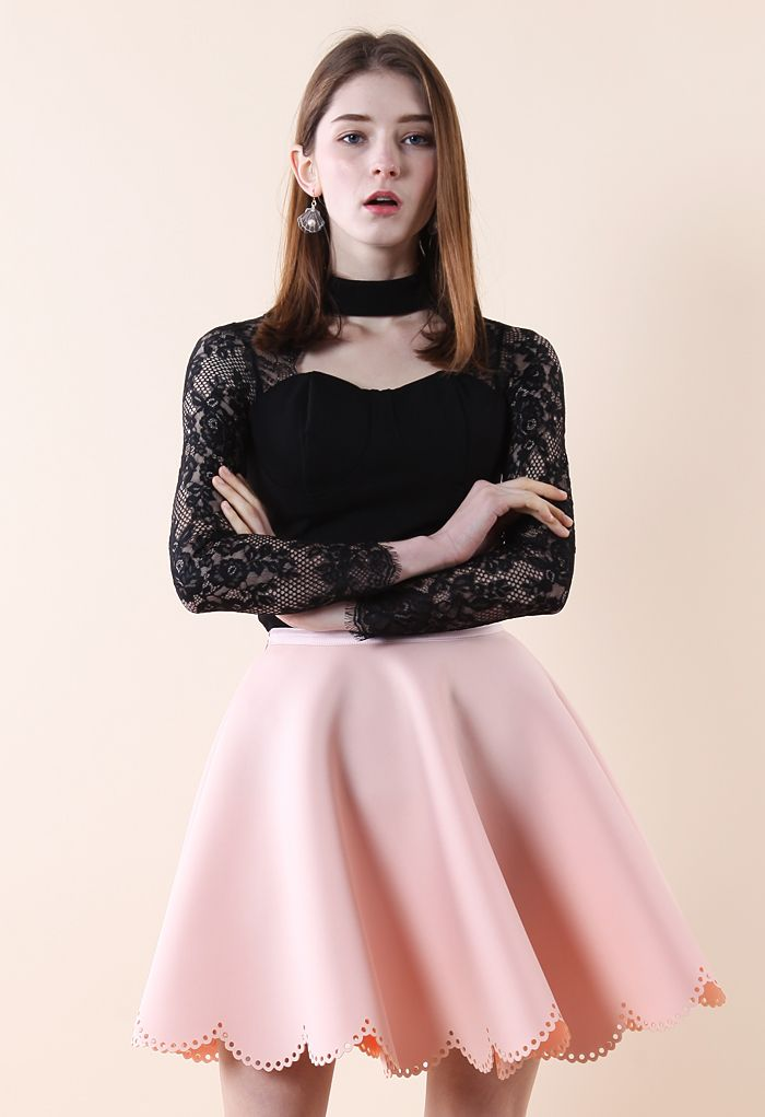 Sweetheart Black Top with Lace Sleeves - Retro, Indie and Unique Fashion