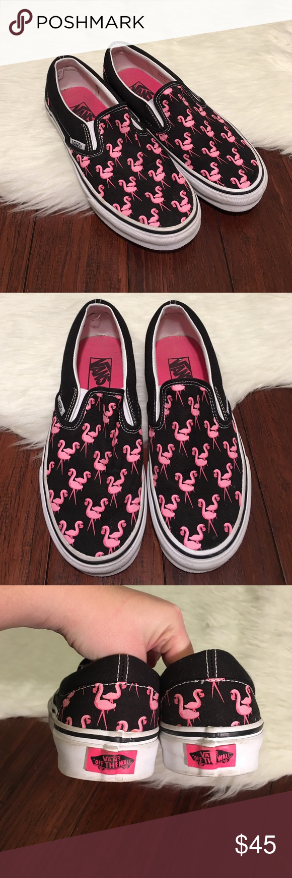 Vans | Black & Pink Flamingo Asher Slip Ons (With images