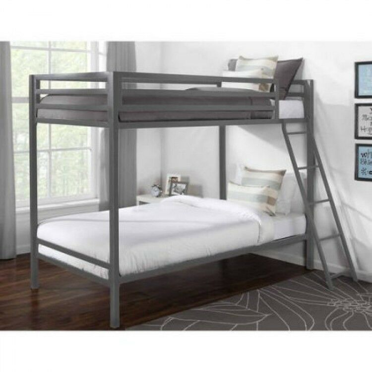 Details About Twin Bunk Beds Over Twin Solid Metal Frame Ladder Kit Kids Boys Bedroom Metal Bunk Beds Twin Bunk
