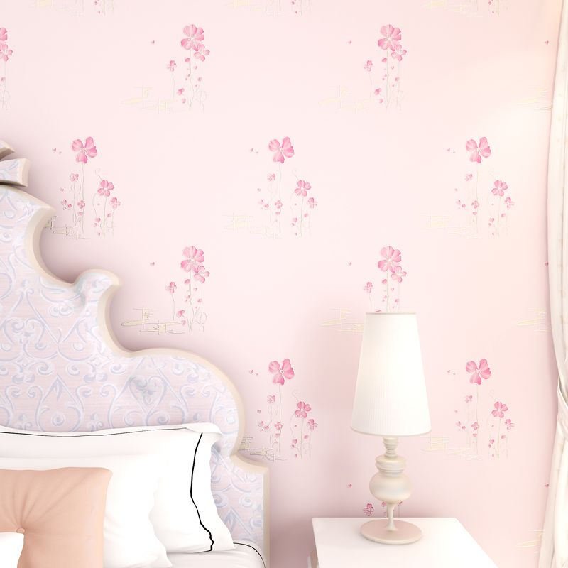 Rustic Floral Wallpaper 3D Non Woven For Bedroom Walls Girls Room Wallpapers Flower Paper