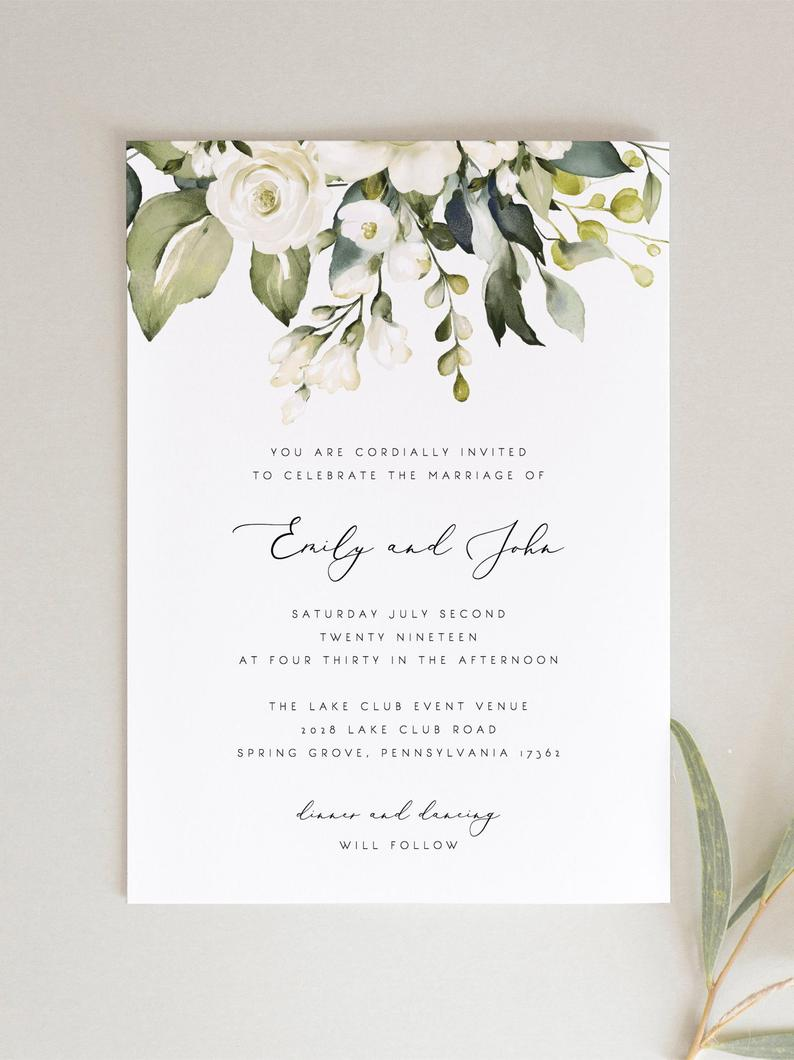 White Floral Wedding Invitation Set Template Greenery White Etsy Flower Wedding Invitation Wedding Invitation Sets Wedding Invitation Templates
