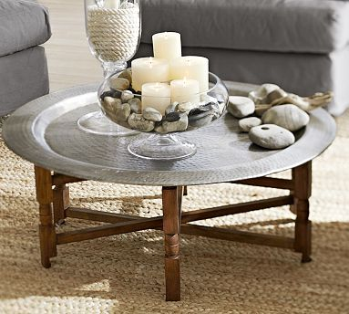 Indoors or out. I just love metal and wood working together.   Marrakesh Tray Table #potterybarn