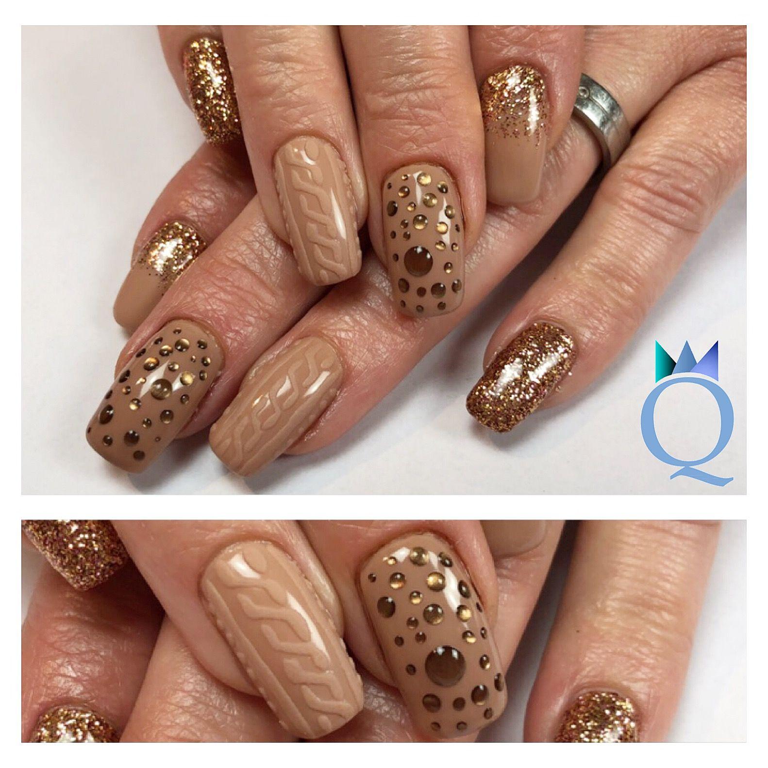 Liebenswert Nageldesign Braun Beige Referenz Von #gelnails #nails #beigenails #brown #copper #glitter #sweaternails