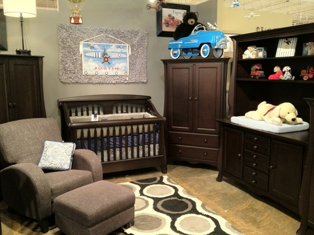 Nerva Crib In Bruno Rosso Finish Shown With Custom Bedding By Pine