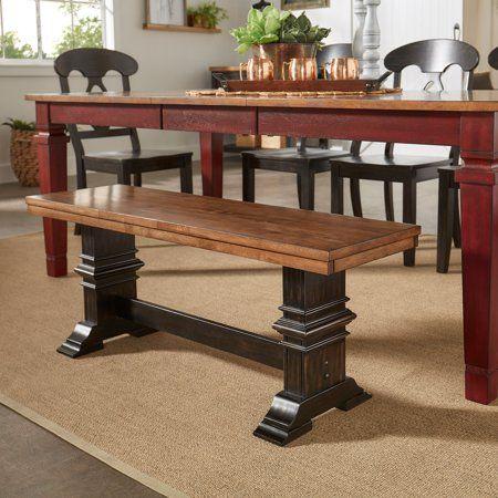Amazing Weston Home Farmhouse Dining Bench With Trestle Leg Beatyapartments Chair Design Images Beatyapartmentscom