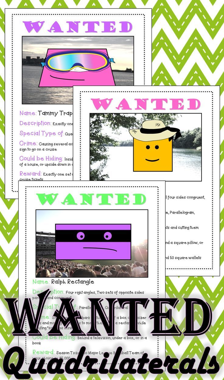 Workbooks worksheets on quadrilaterals and their properties : Quadrilateral Activity: Help find these Quadrilateral Criminals ...