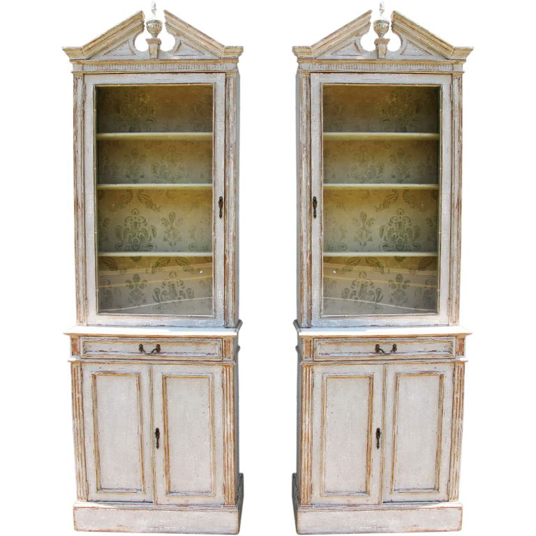 Pair French Narrow Bookcases  Painted Hutch Room And Storage Endearing Narrow Dining Room Hutch Design Ideas