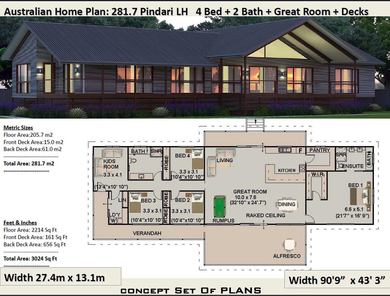 australian country homes : 281.7m2 Pindara Design ... on
