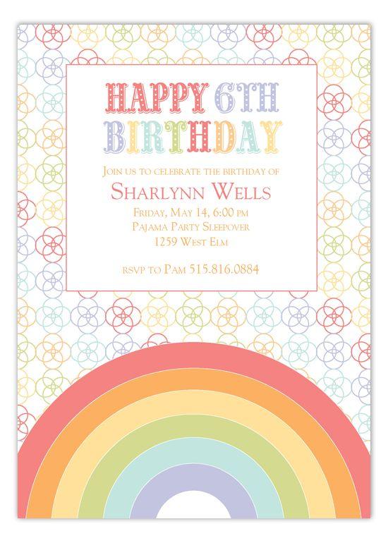 Rainbow Birthday Invitation Rainbow birthday invitations, Rainbow