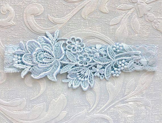 Stretch Lace Wedding Garter Set Flower Monogram Wedding Garter Light Blue Bridal Garter Set Embroidery Wedding Garter and Toss Garter Set