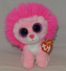 New! 2014 TY Beanie Boos Valentine FLUFFY the Pink Lion 6