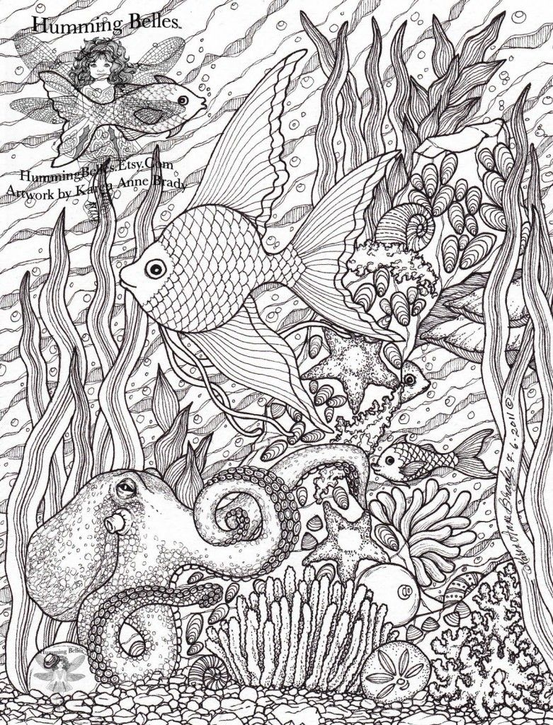 Free Challenging Under The Sea Coloring Pages For Adults