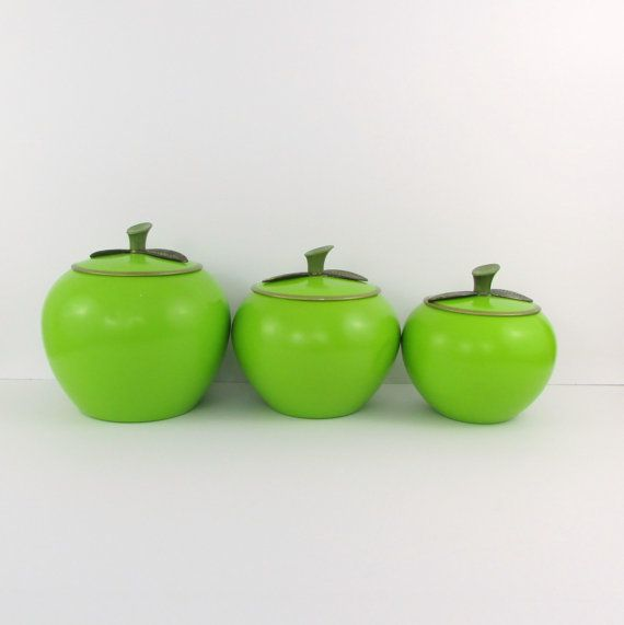 Vintage 1960s Green Apple Canisters Set Of 3 Aluminum Tins By Chrom Ever Green Apple Canister Sets Vintage