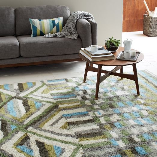New Handcrafted Diamond Wool Shag Rug From West Elm With Images
