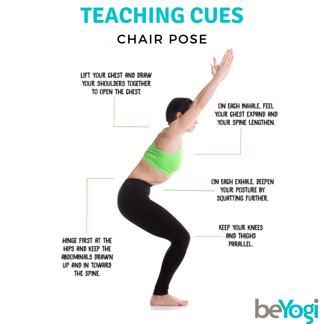 All The Cues For Your Students To Ensure Chair Pose Is Done Properly Chairpose Beyogi Beyog In 2020 Teaching Yoga Yoga Teacher Insurance Yoga Teacher Training