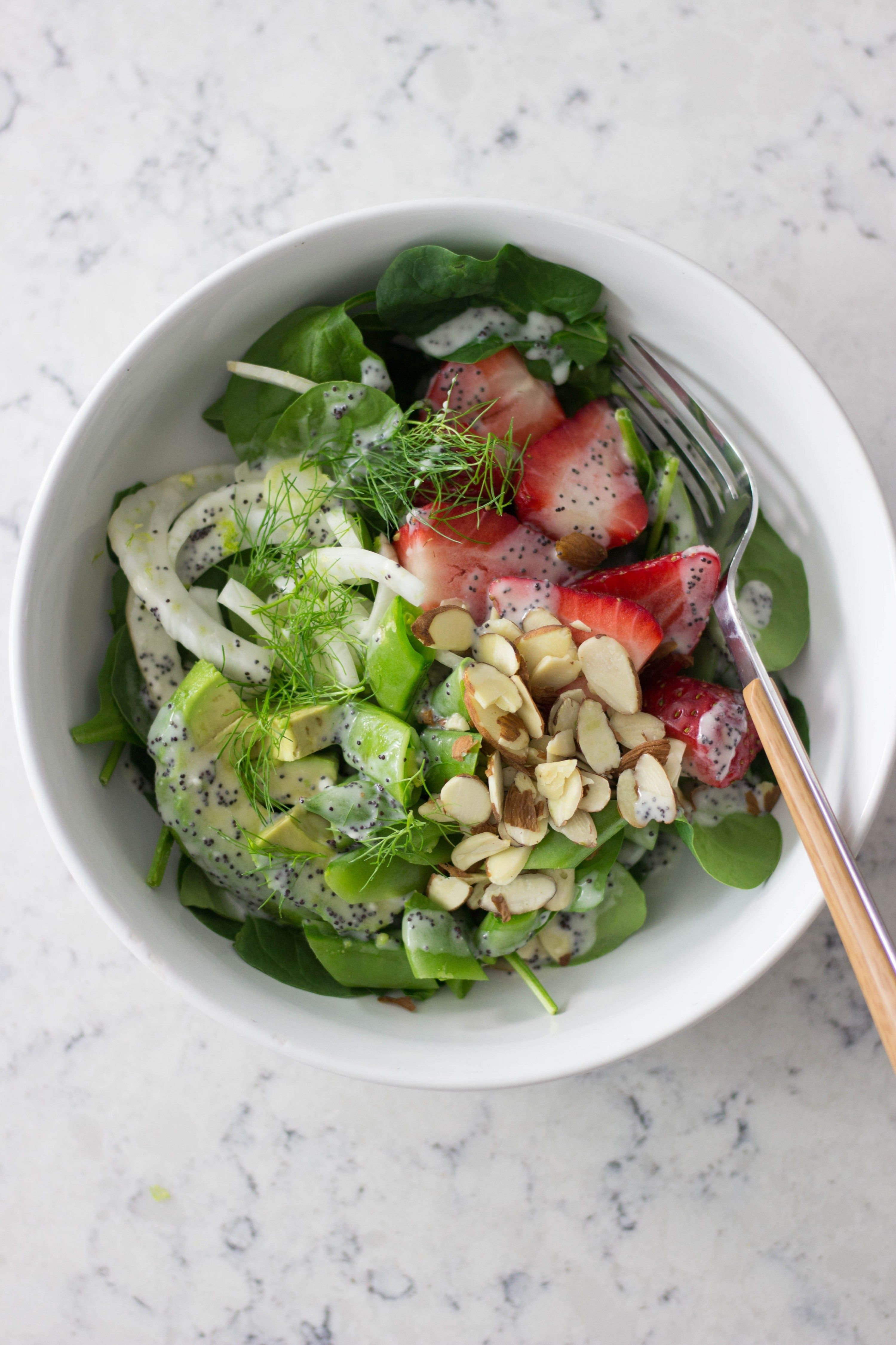 SPINACH STRAWBERRY FENNEL SALAD RECIPE SIMPLE SALAD RECIPES