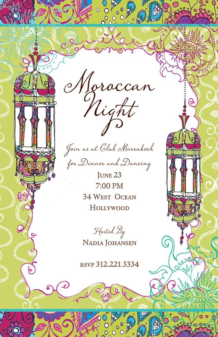 Parties : Moroccan Nights Invitation - A Moroccan theme is a great ...