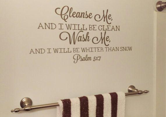Bathroom Decals bathroom decor, cleanse me wash me, vinyl wall decal, bible verse