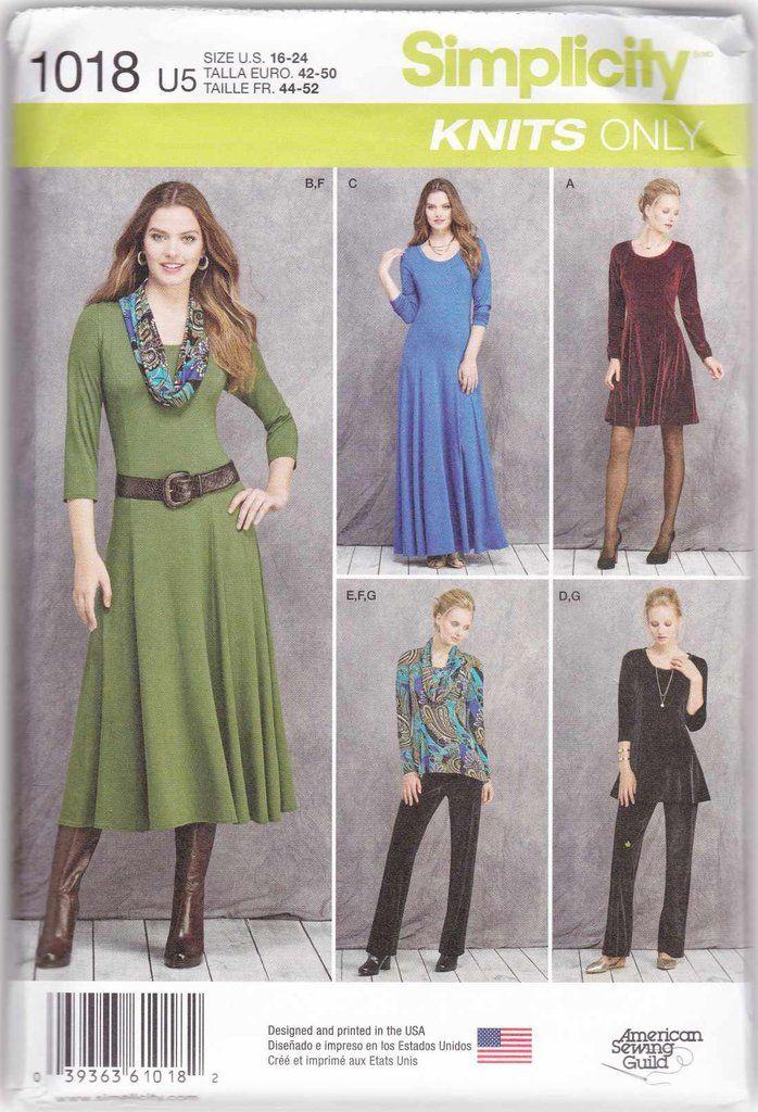 Misses Miss Petite Knit Dresses Tops Pants Sewing Pattern