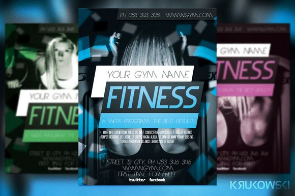 Check out Fitness Flyer Template by Krukowski on Creative Market - Gym Brochure Templates