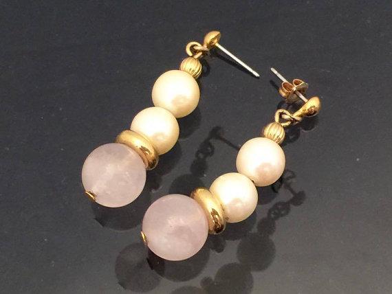 Vintage Jewelry Rose Quartz & Faux Pearl by wandajewelry2013