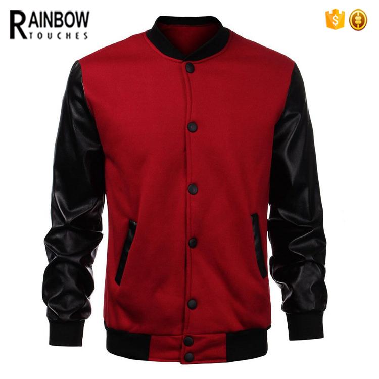 Custom Wholesale Pu Leather Sleeve Cool Varsity Letterman