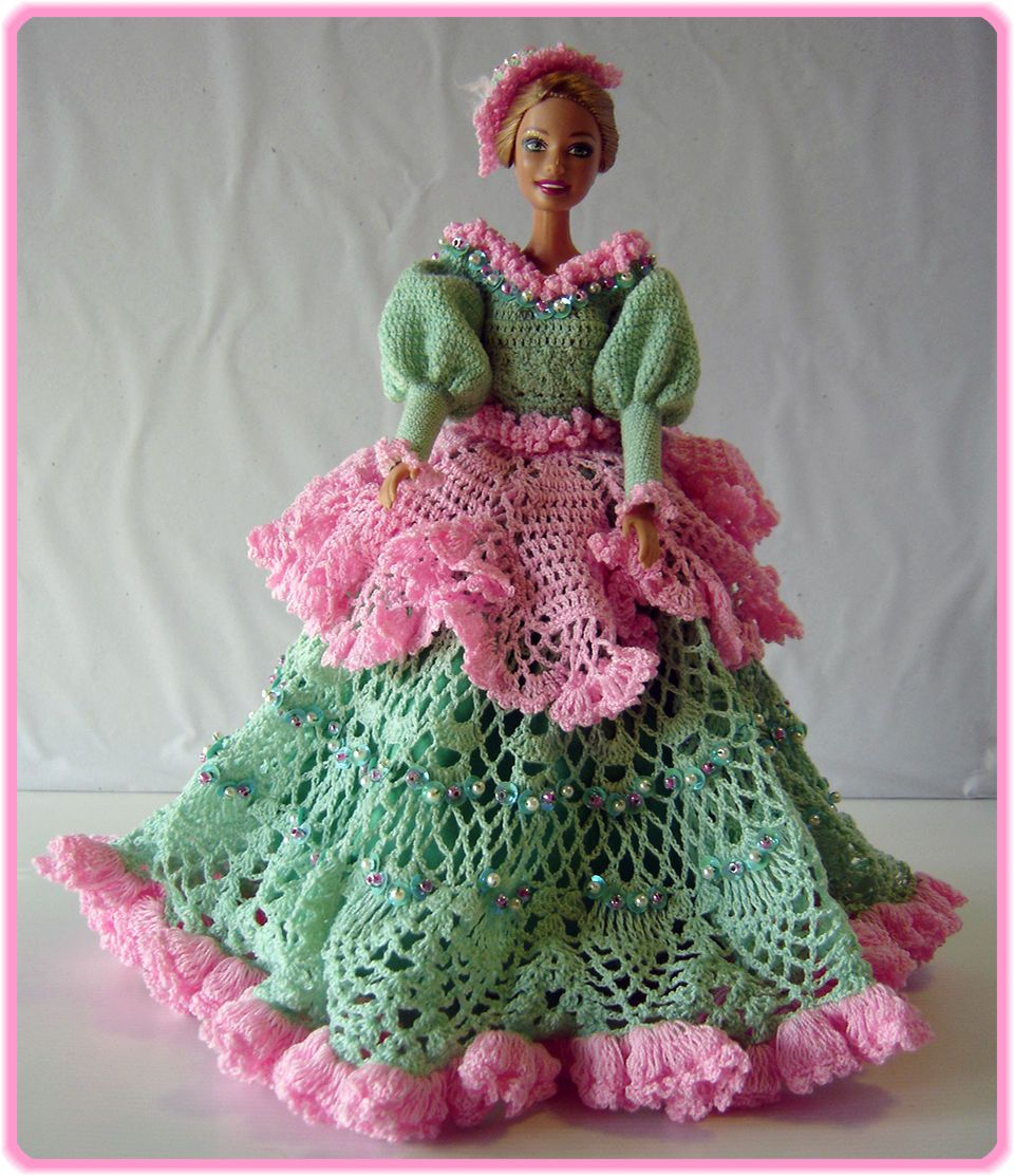 BArbie Clothes Green Mint Pink Dress with Hat Crocheted Handmade   eBay