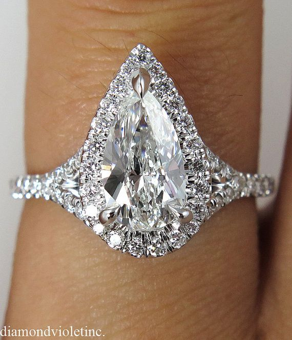 Reserved....GIA 1.61ct Estate Vintage Pear by DiamondViolet