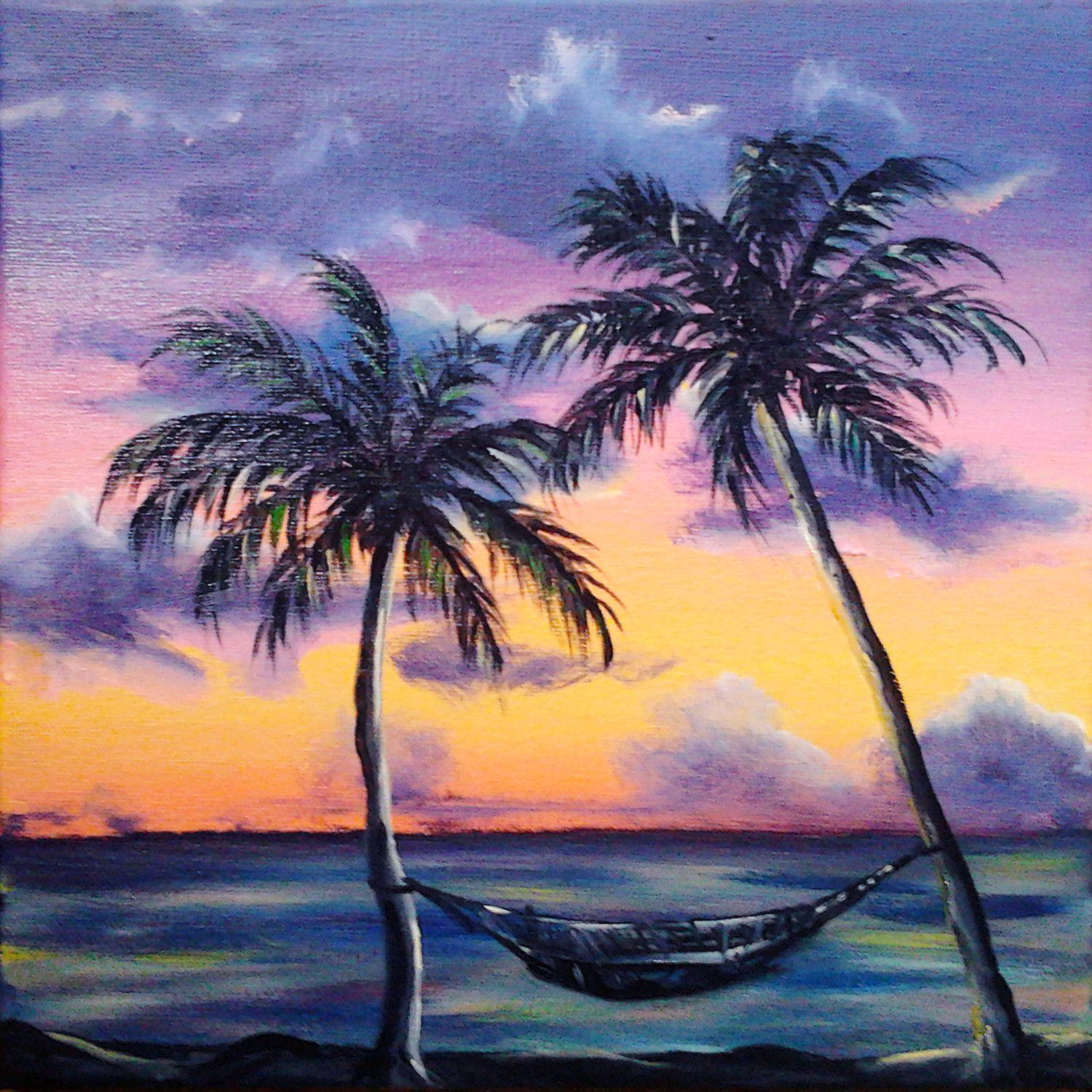 Reduced Price Beach Ocean Original Oil Painting Caribbean Art Palm