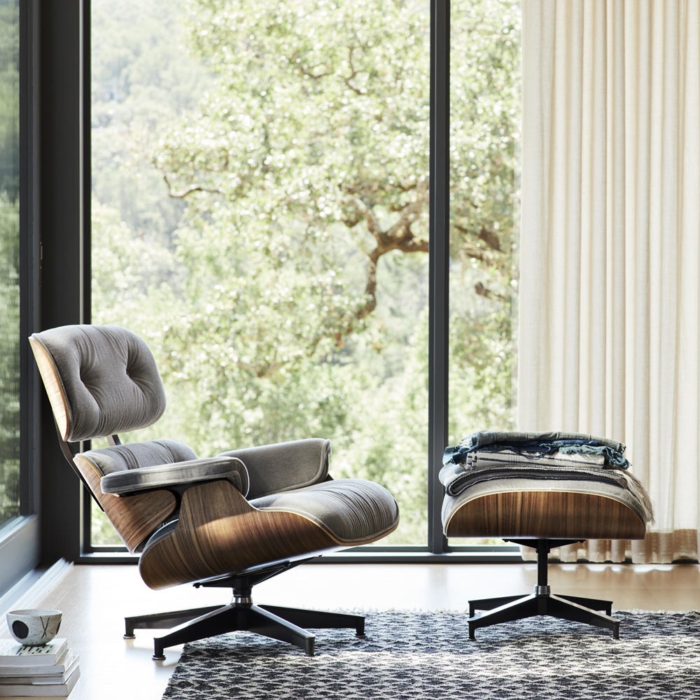 When the Eames® Lounge Chair and Ottoman were introduced in 1956, there was nothing like it, and there is still nothing equal to it. With a fresh take on this iconic piece - originally only available in leathers - the Eames Lounge & Ottoman is now available in Mohair Supreme. The addition of 100% mohair to this chair brings an element of coziness and luxury to an already comfortable classic.  View the original Eames® Lounge & Ottoman .  Shell is a molded veneer available in Walnut, Santo