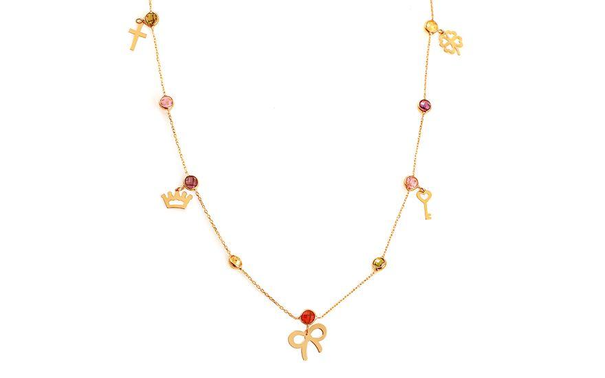 a9402526c Zlatý náhrdelník s barevnými zirkony Olessia | hobby | Zlato