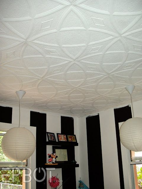 prodigious Ceiling Tiles Over Popcorn Ceiling Part - 4: I have to rave about these ceiling tiles for a second: theyu0027re made of  lightweight foam, and simply glue over existing popcorn ceilings! Fou0027 realz.