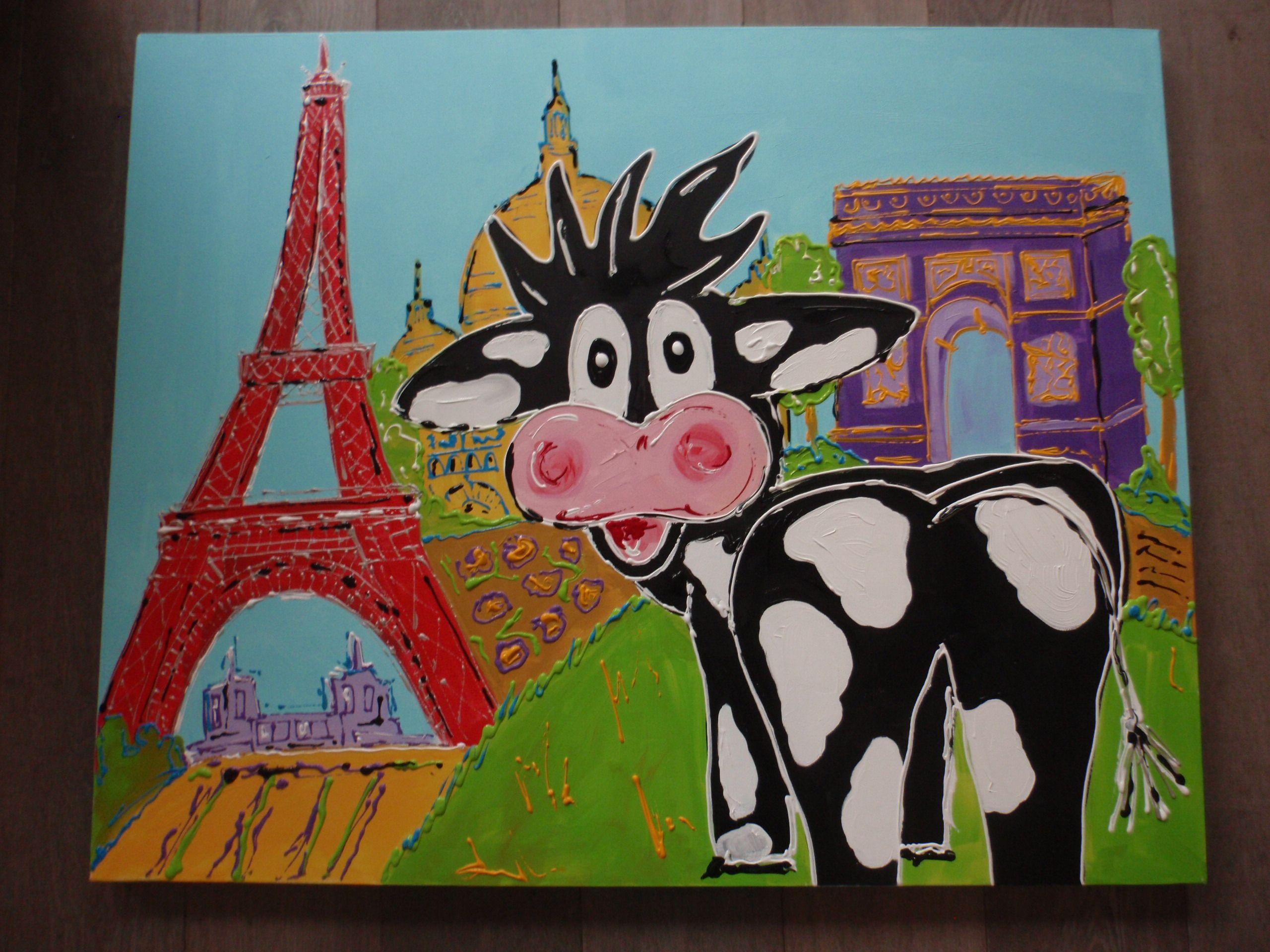 schilderij koe in parijs