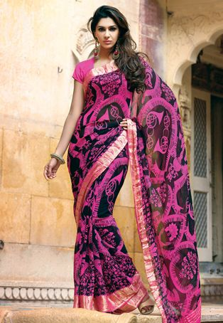 cbda7c6d5ab0bc Utsav Fashion   black-and-pink-pure-georgette-saree-with-blouse ...