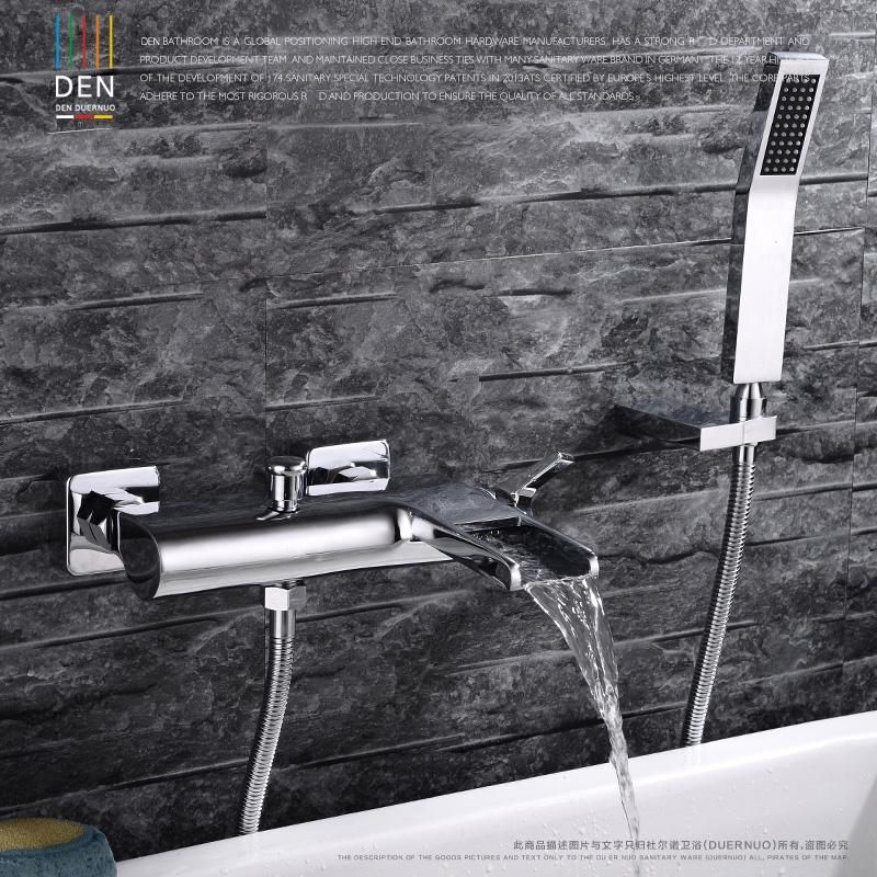 Chrome Wall Mounted Bathroom Faucet Bath Tub Mixer Tap With Hand Shower Head Shower Faucet Hot And Co Shower Faucet Wall Mount Faucet Bathroom Bathroom Faucets
