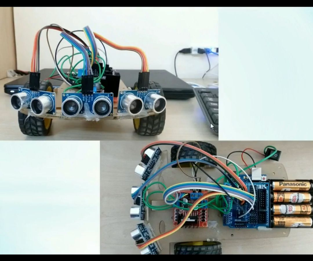 Obstacle Detection Robot Using Three Ultrasonic Sensors And Arduino Attiny Candle Electronicslab Uno 6 Steps With Pictures